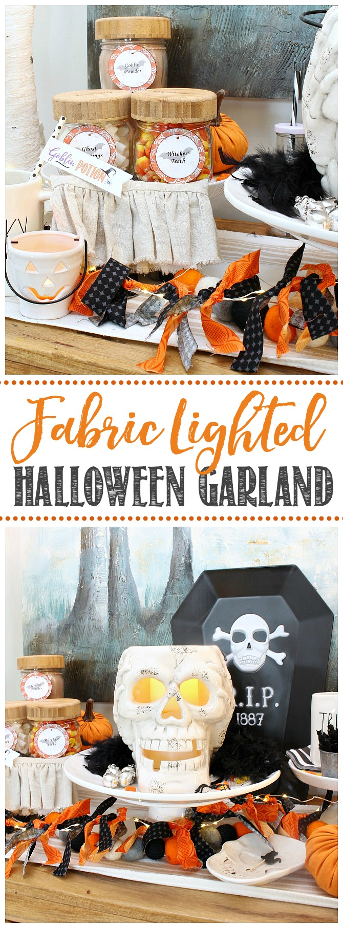 Cute DIY Halloween garland made from scrap fabric and a string of lights.