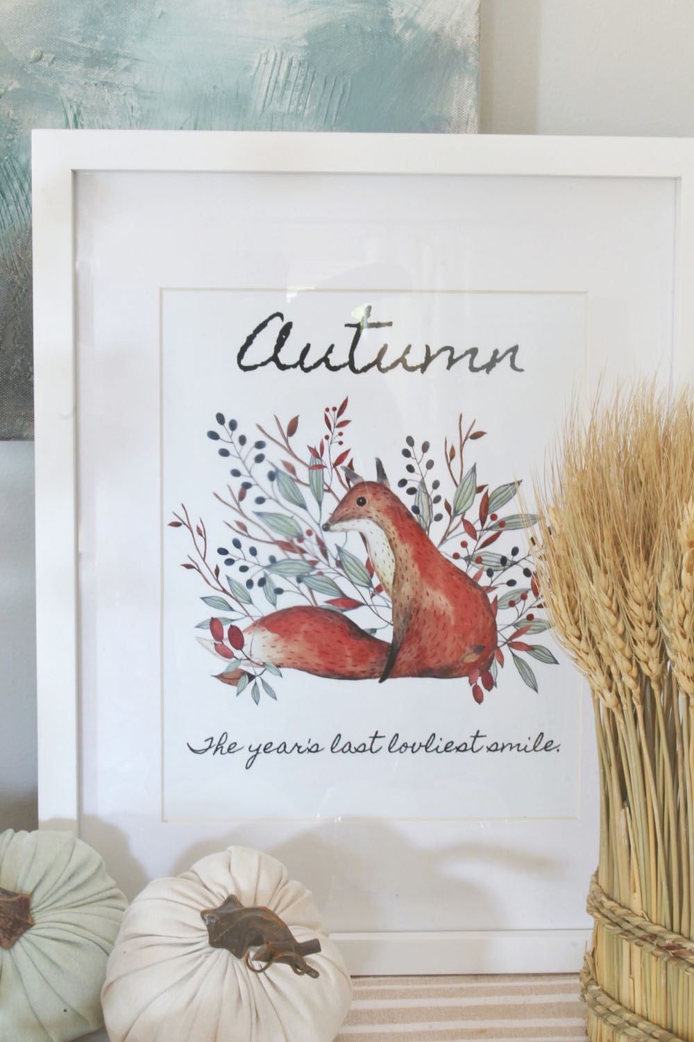 Watercolor fox with fall leaves printable.