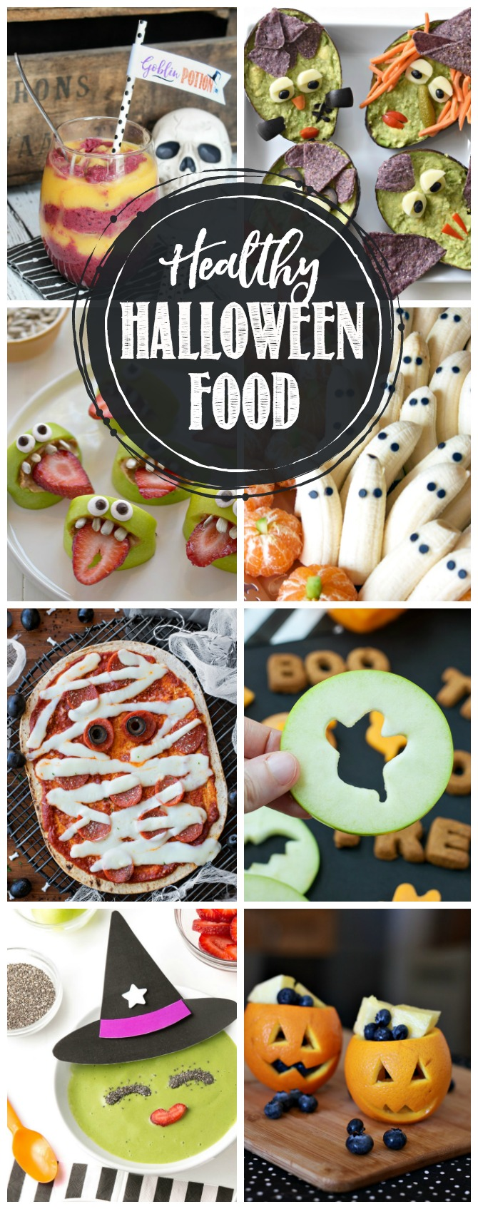 Collection of healthy Halloween food ideas.