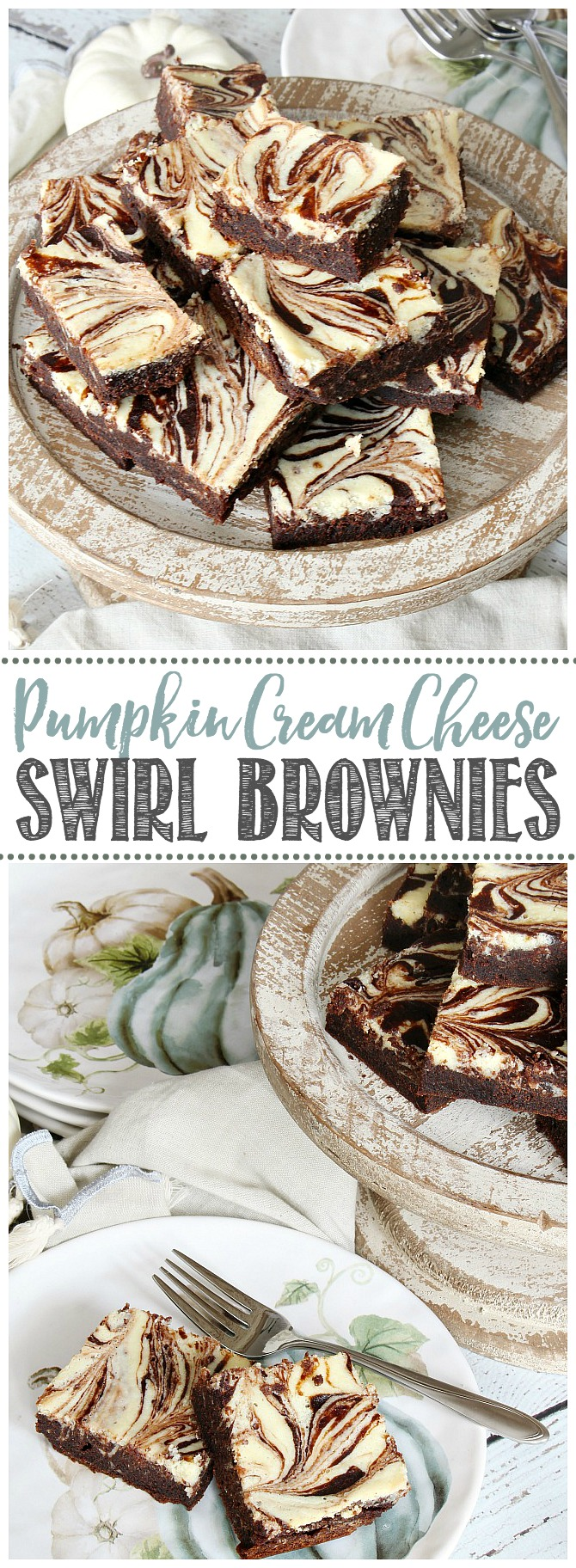 Pumpkin chocolate cream cheese swirl brownies on a wooden cake stand.