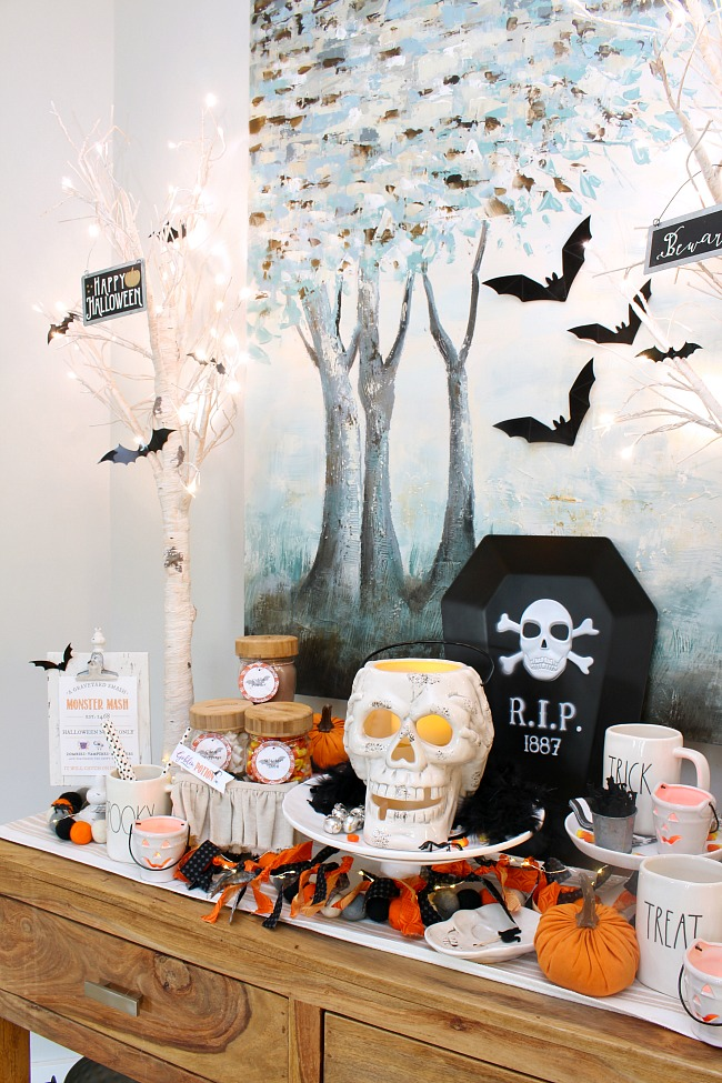 Fabric Lighted Halloween Garland. Halloween hot chocolate bar with DIY garland made out of scrap fabric and lights.