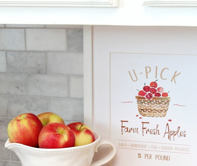 U-Pick Farm Fresh Apples in a frame with bowl of apples.