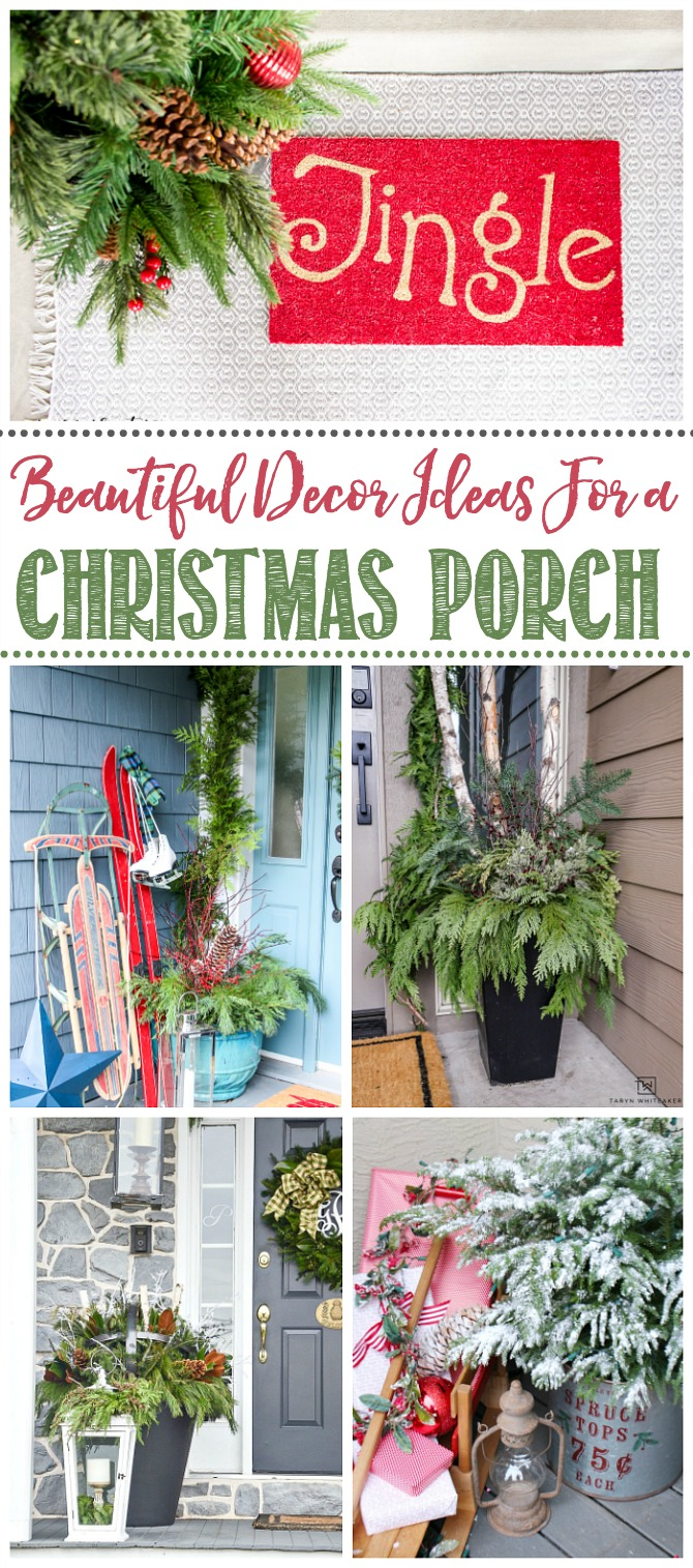 Beautiful collection of Christmas front porch decor ideas.
