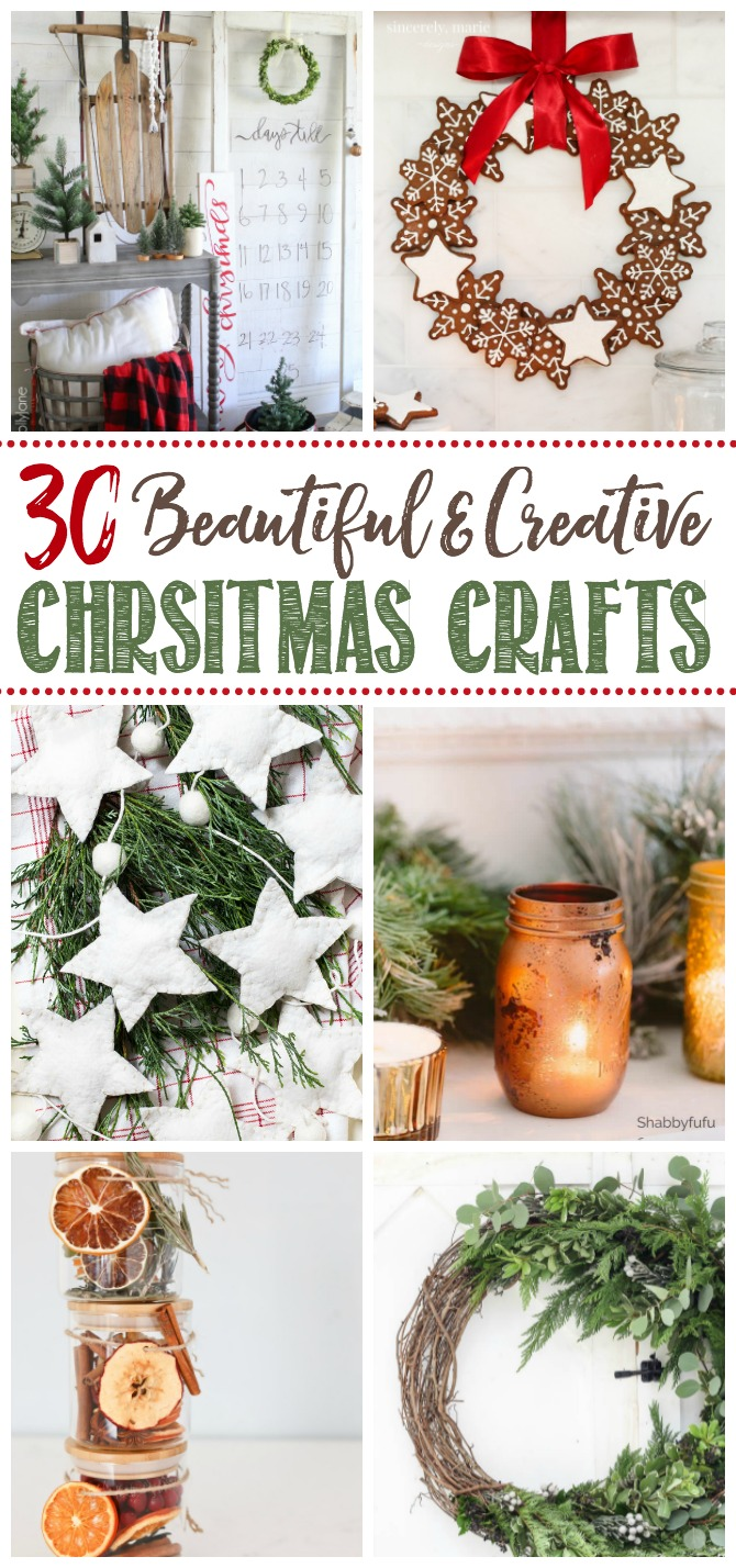 Collage of beautiful Christmas crafts and DIY projects.