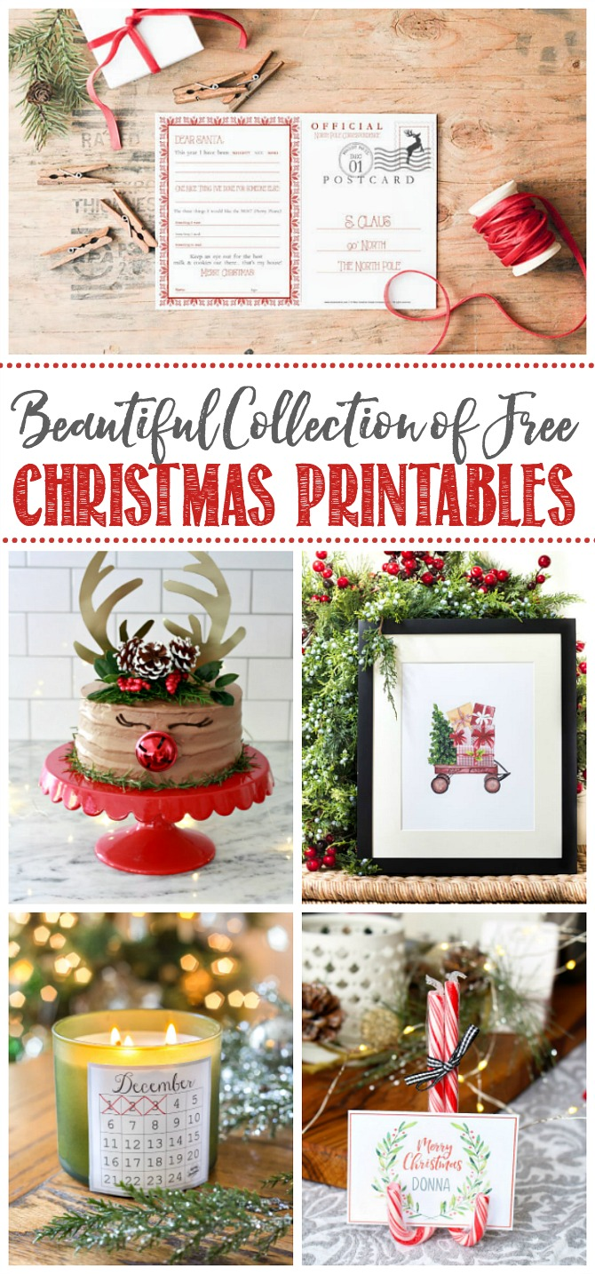 Beautiful collection of free Christmas printables.