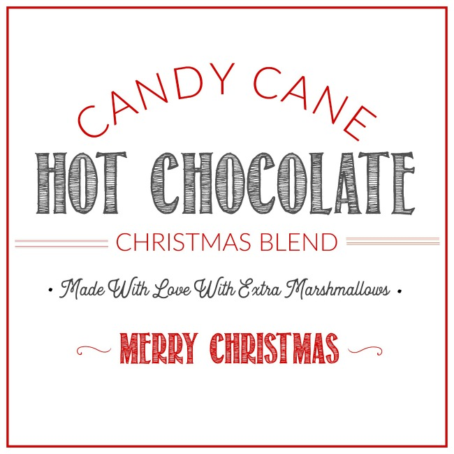 Candy Cane Hot Chocolate free printable gift tag.