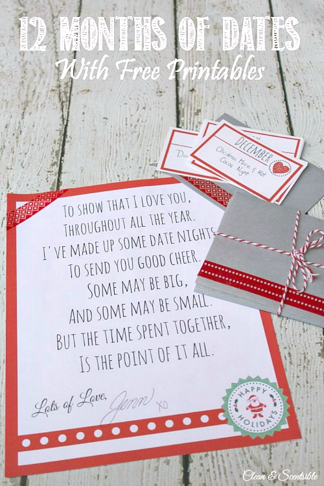 12 months of dates printable cards to use for a Christmas gift.