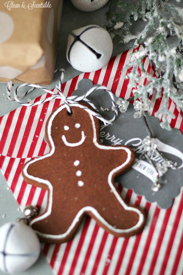 Cute cinnamon gingerbread man used as a present topper.