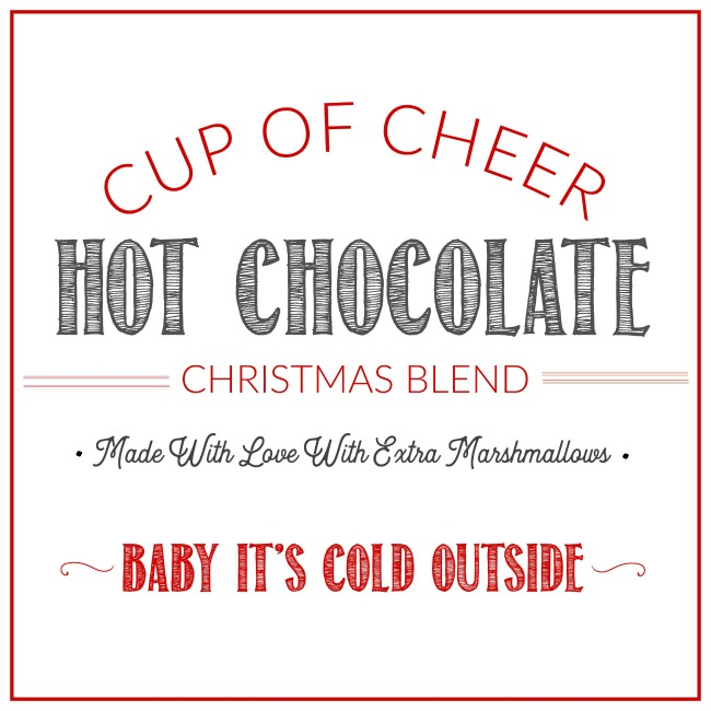 Cup of cheer free printable gift tag.