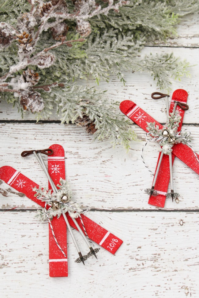 Popsicle Stick Skis Christmas Ornaments Clean And Scentsible