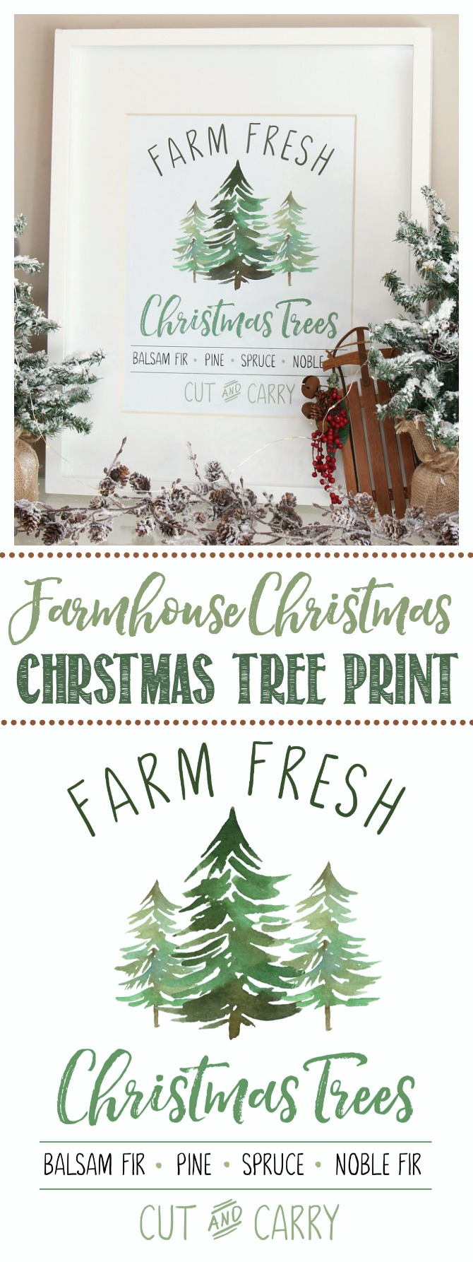 Farm Fresh Christmas Trees free farmhouse style Christmas printable.