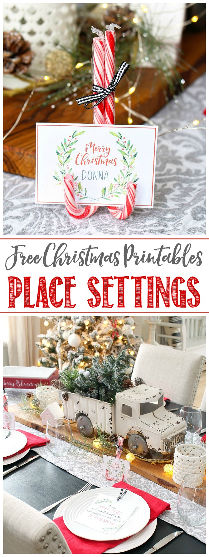 Christmas tablescape with DIY candy cane place card holder and free printable place cards and place setting tags.