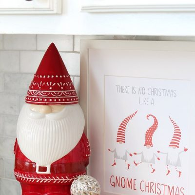 "Free Christmas Printable - ""There is no Christmas like a gnome Christmas"" with cute gnome cookie jar."