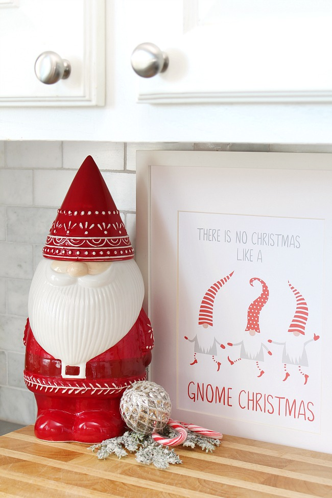 "Free Christmas Printable - ""There is no Christmas like a gnome Christmas"" with cute gnome cookie jar."