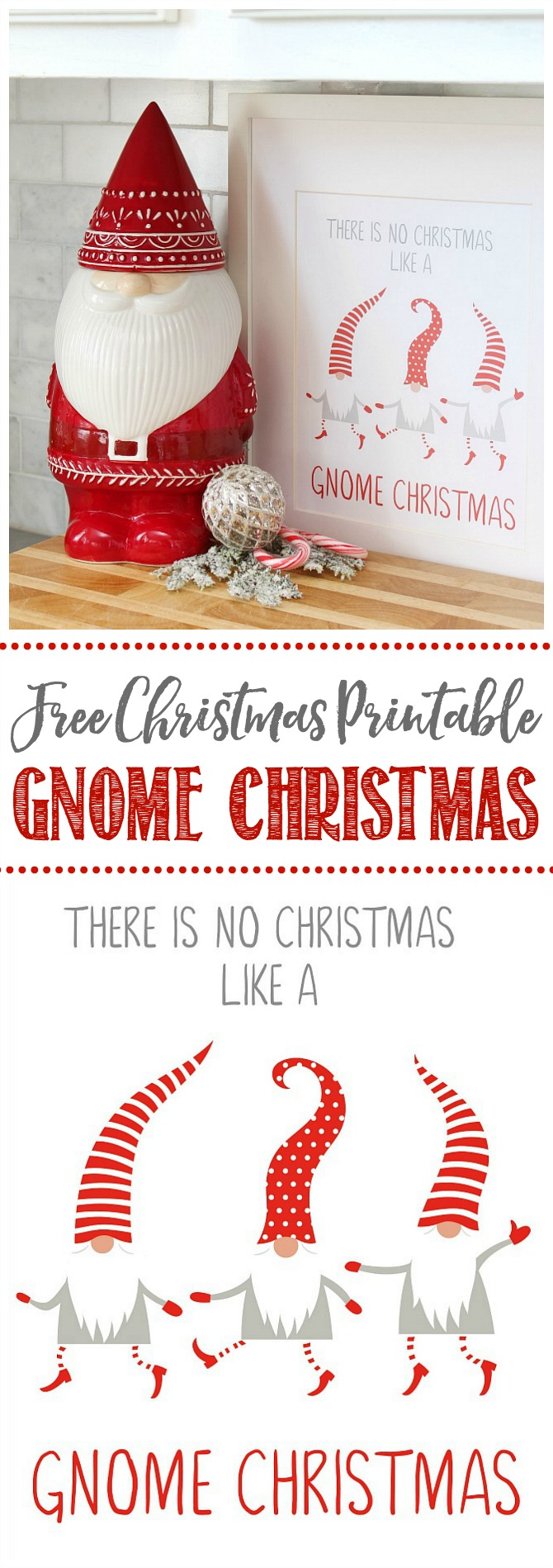 Free Christmas Gnome Printable.