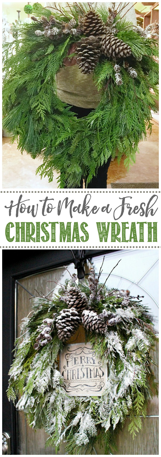 Beautiful Christmas wreath using real, fresh greenery. Beautiful on it's own or flocked for a snowy look.