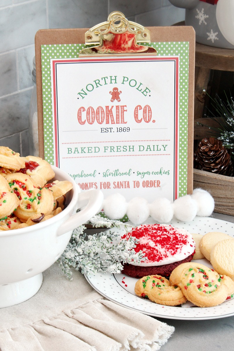 North Pole Cookie Co. free Christmas printable with lots of Christmas cookies.