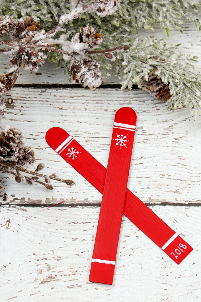 Popsicle stick skis step by step tutorial.