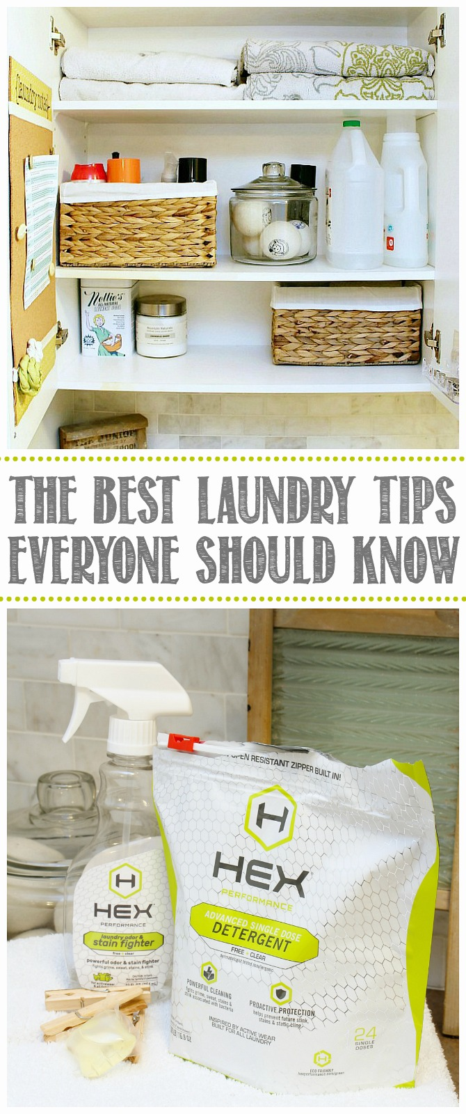 The Best Laundry Tips. Organized laundry room cupboard and Hex detergent.