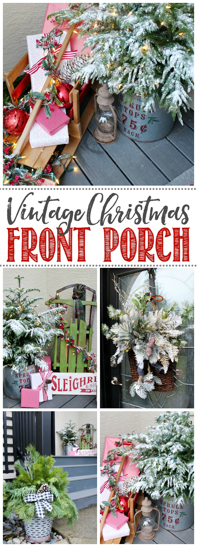Beautiful ideas to decorate your front porch for Christmas.