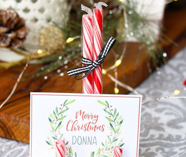 Free printable watercolor Christmas placecard on DIY candy cane place card holder.