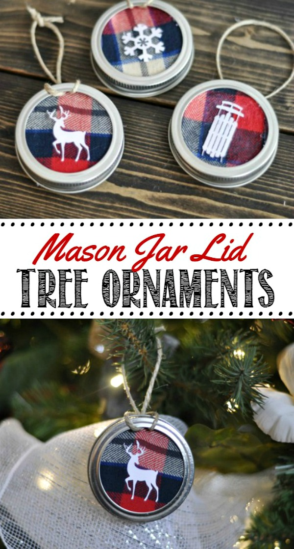 Cute mason jar lid ornaments made from fabric and mason jar lids.