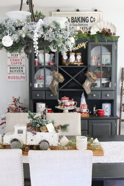 Farmhouse Christmas Dining Room Decorations – Red, Black, and White