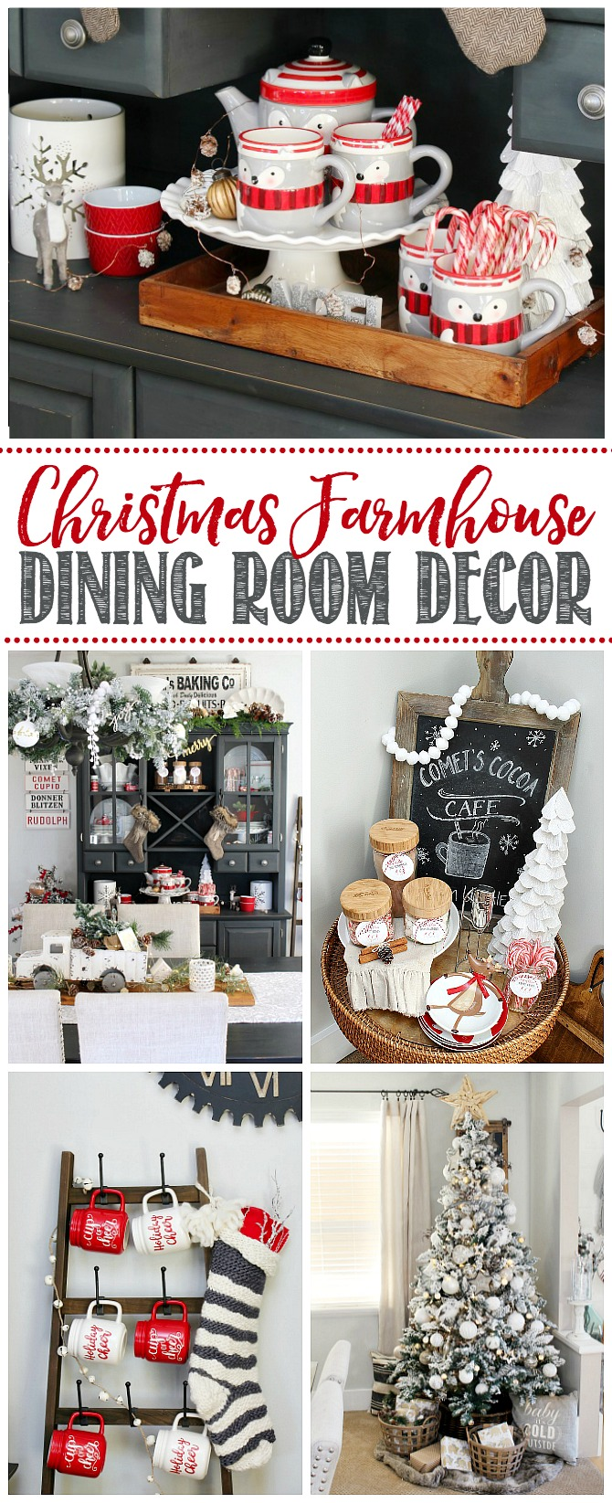 Christmas farmhouse dining room decor ideas with red, black, and white.