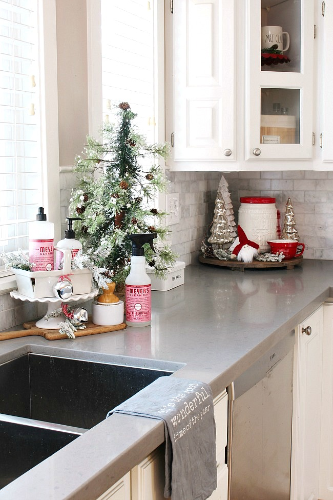 Christmas kitchen decor with peppermint Mrs. Meyers dish sop and a pretty Christmas vignette.