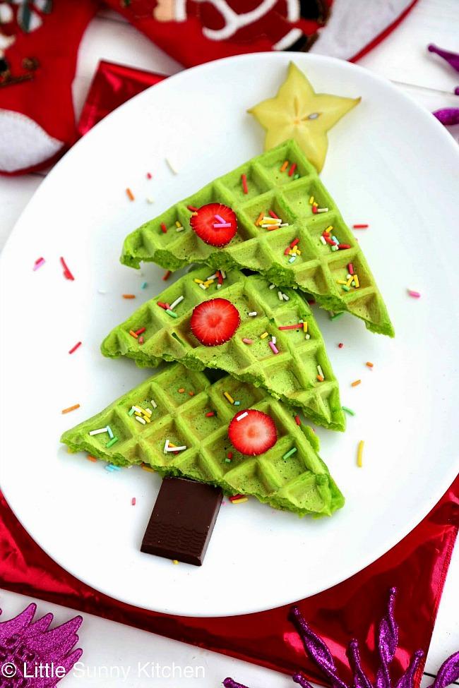 Christmas tree waffles for a fun Christmas breakfast idea.