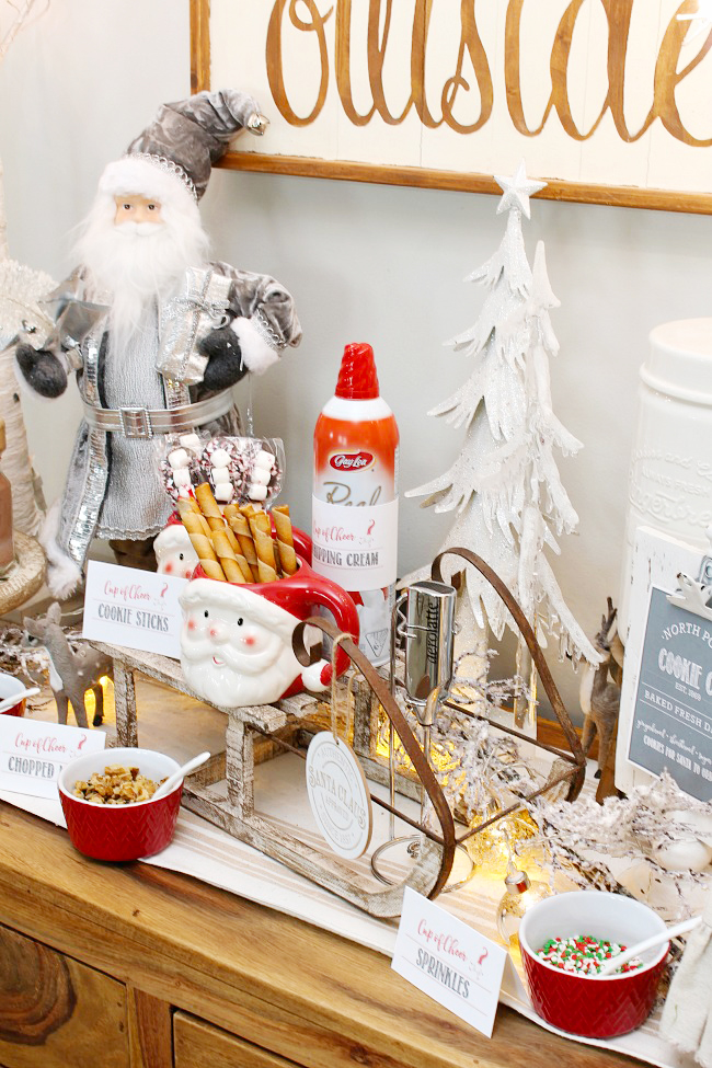 Cute hot chocolate bar decorated for Christmas.