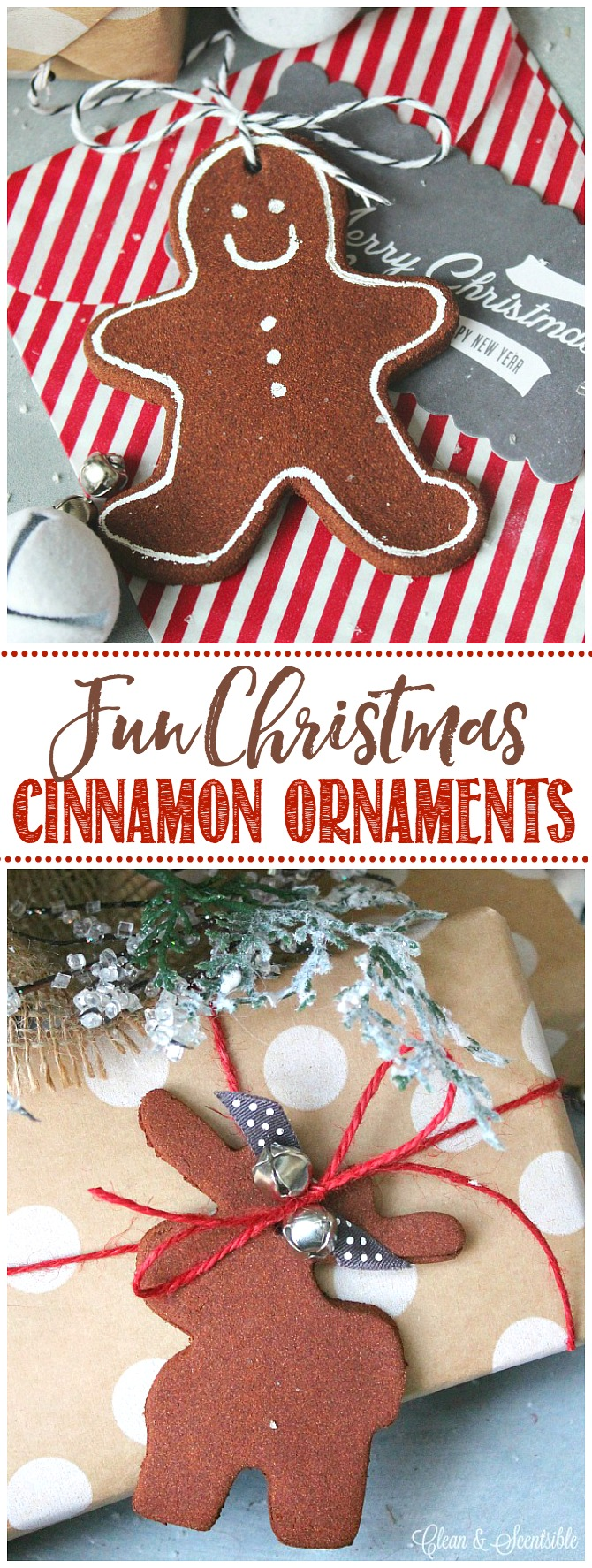 Christmas cinnamon ornaments using a gingerbread man and moose cookie cutters. Used as cute present toppers!