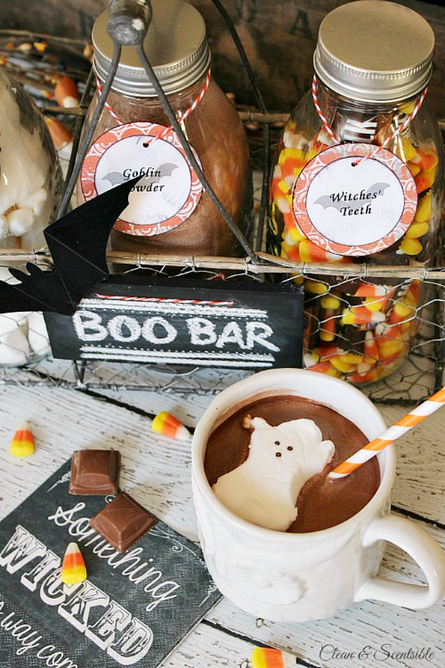 Halloween hot chocolate bar.