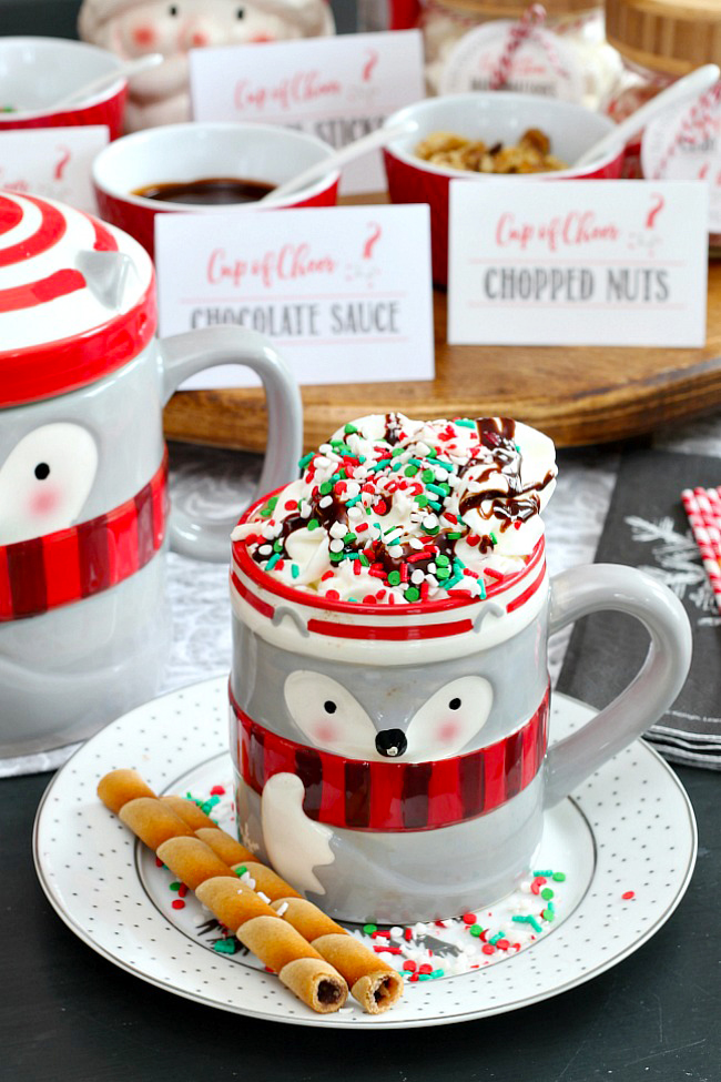 Hot chocolate in a cute racoon mug. Topped with whipped cream, chocolate sauce, sprinkles, and crushed candy canes.