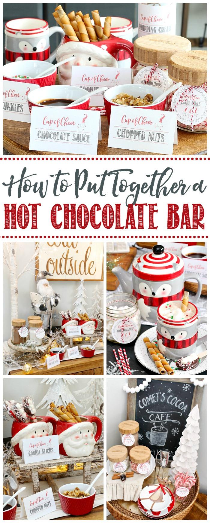Cute ideas to put together a fun hot chocolate bar.