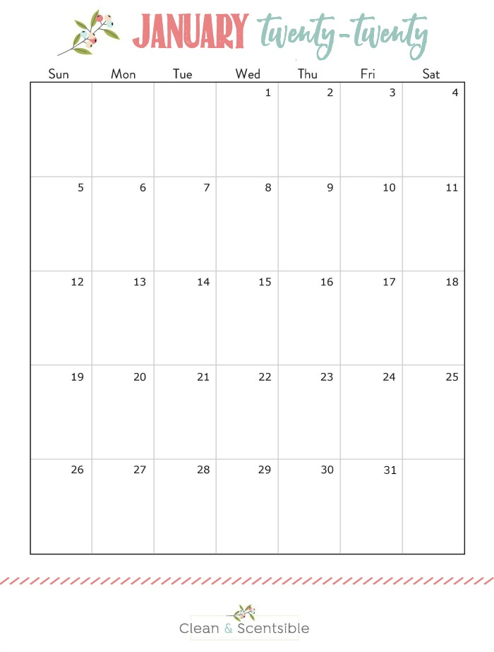 Free printable January calendar.