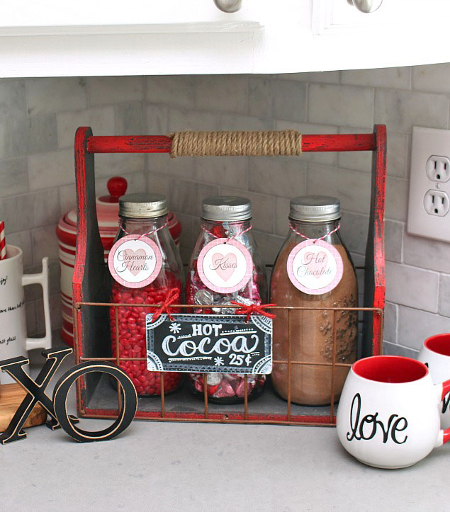 Simple Valentine's Day hot chocolate bar using milk bottles and a red crate.