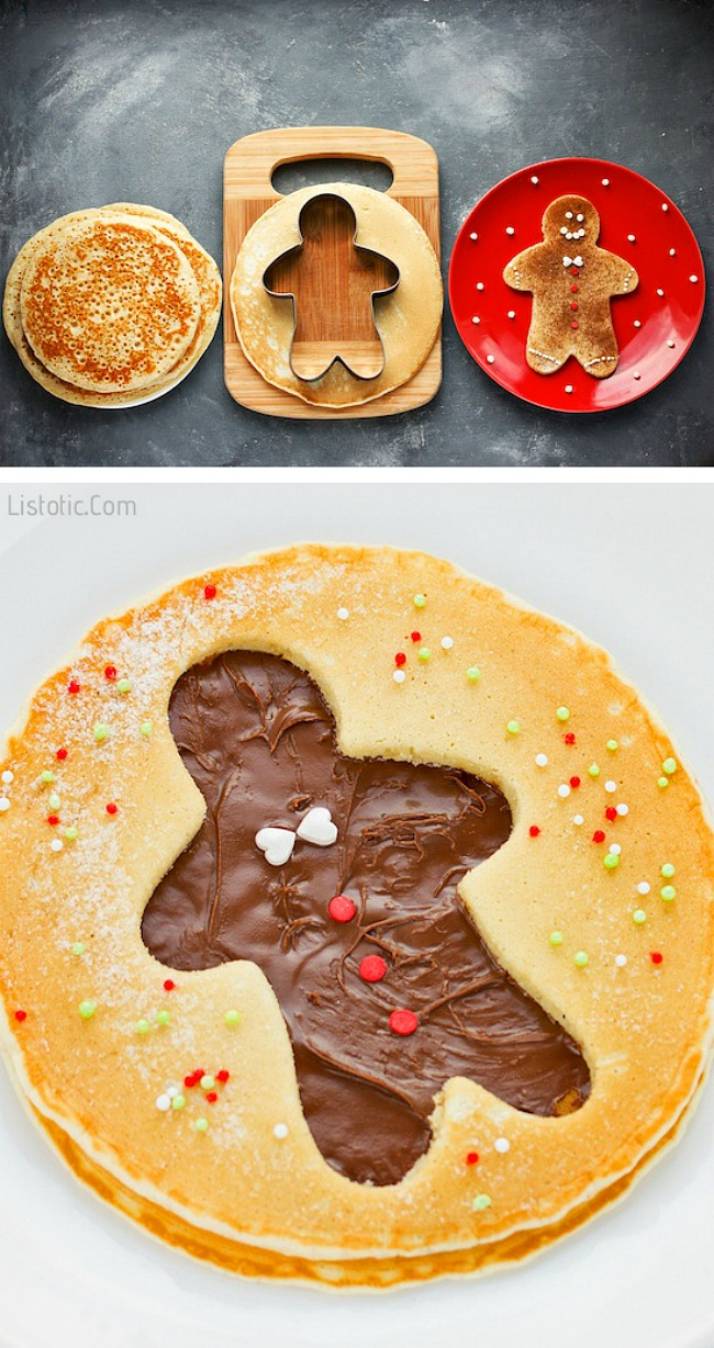Gingerbread men cut out pancakes using cookie cutters and Nutella.