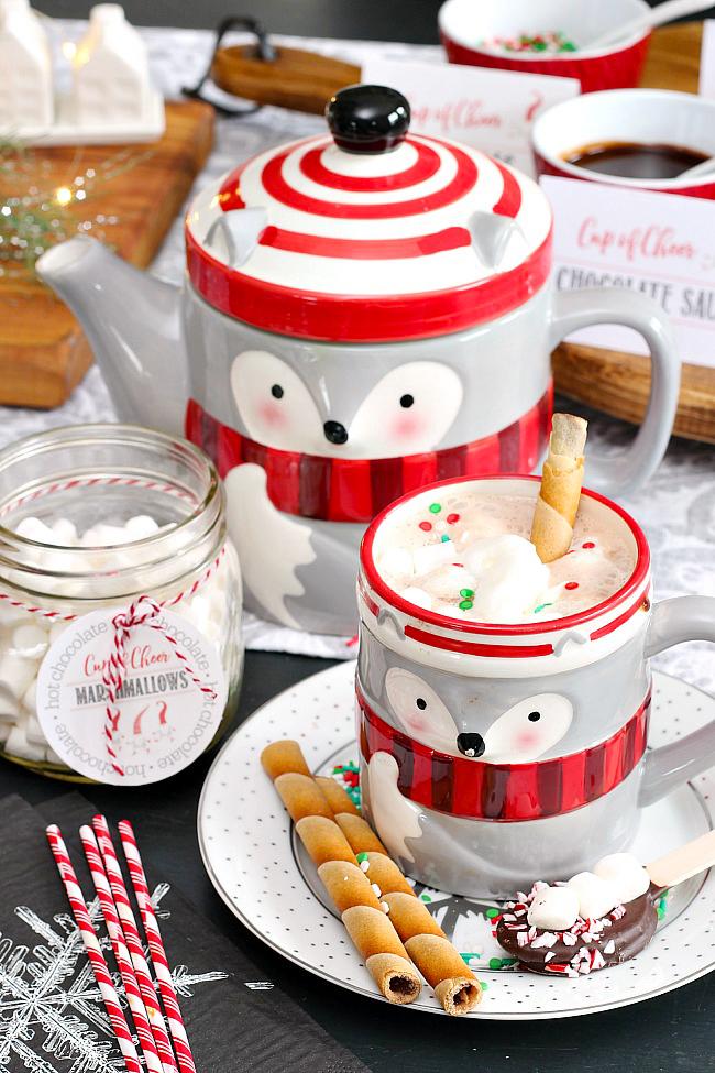 Hot chocolate in a cute racoon mug.