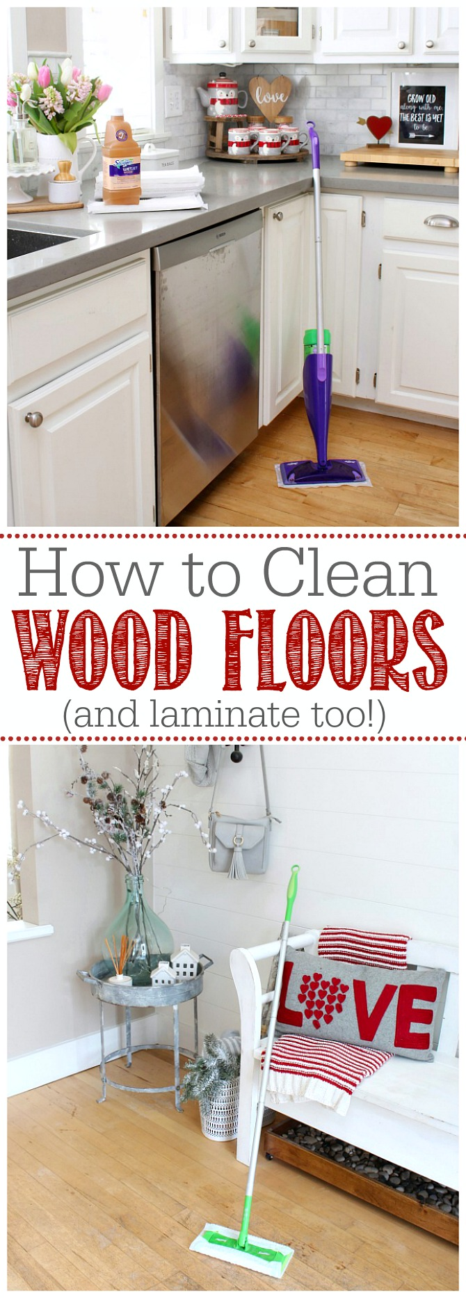 How to clean wood floors .  Wood flooring in a front entry and kitchen with Swiffer products.