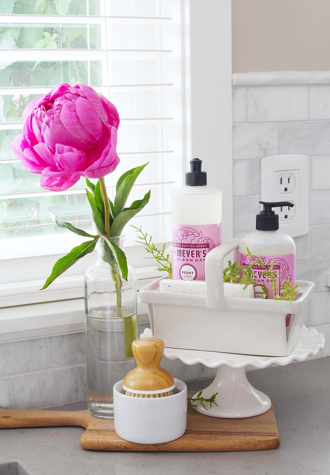Cute way to display cleaning supplies beside a sink using a cake stand.