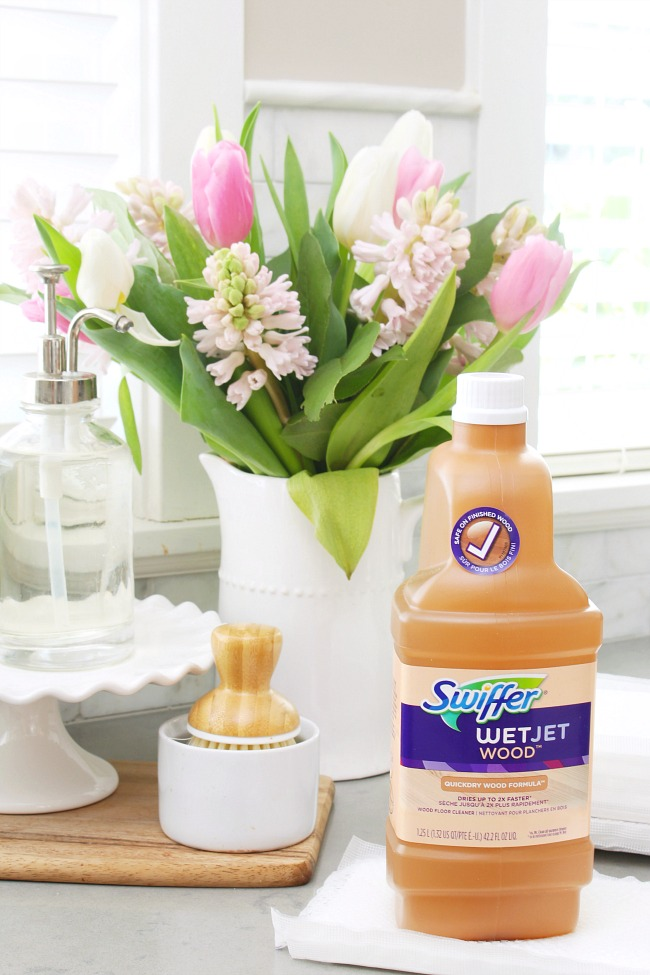 How to clean wood floors with Swiffer Wet Jet wood floor cleaner.
