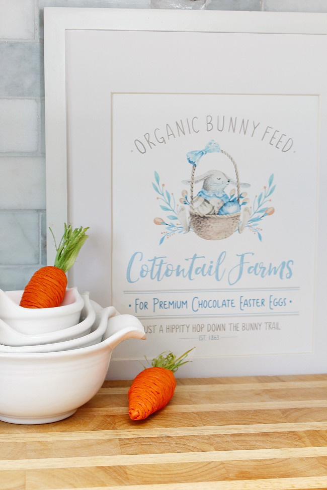 Organic Bunny Feed free Easter printable in a frame.