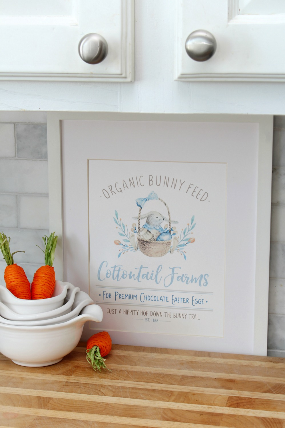 Cottontail Farms Easter printable in a frame with carrots.