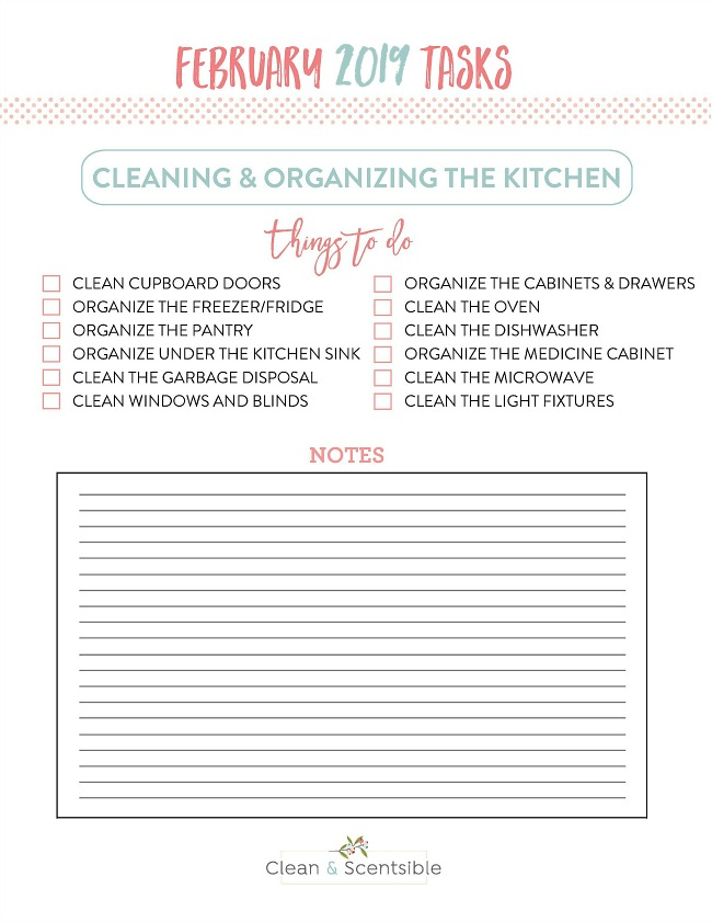Free printable home organization checklist to deep clean and organize the kitchen.