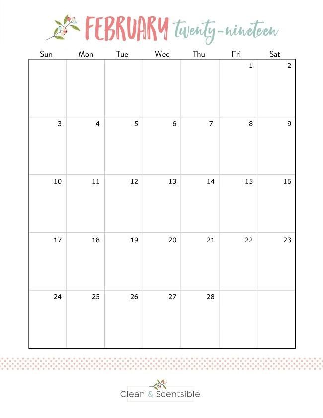 February 2019 free printable calendar.