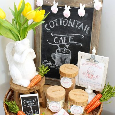 Cute Easter hot chocolate bar with mason jars and free printable Easter hot chocolate bar labels and print.