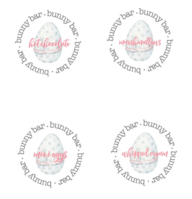 Bunny bar free printable Easter hot chocolate bar labels.
