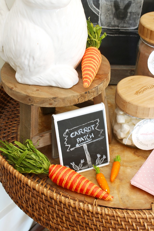 Mini carrot patch chalkboard sign.  Part of a cute Easter hot chocolate bar.