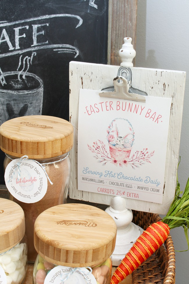 Easter Bunny Bar free Easter printable displayed on a white clip frame.